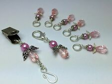 Pink Angel Portuguese Knitting Pin & Stitch Markers with Holder