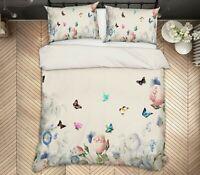 3D Color Butterfly ZHUA105 Bed Pillowcases Quilt Duvet Cover Set Queen King Zoe