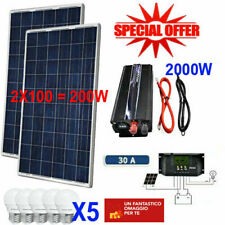 Kit Fotovoltaico 2 KW Pwm Inverter 2000W Pannello Solare 200W regolatore 30 amp