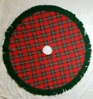 Red Green Wool Blend Tartan Plaid Christmas Tree Skirt Yarn Fringe Farmhouse 42""