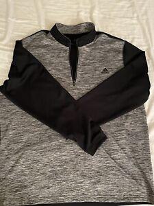 Adidas Men's Lightweight 1/4 Zip XXL Heather Gray Black Pre Owned