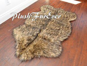 """PlushFurEver 36"""" x 58"""" Large Black Tip Sheepskin Area Rug Plush Medium Fur Rugs"""