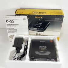 Sony Discman D-33 CD Personal Disc Player w/ Original Box, Adapter, Manual
