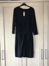 MARKS & SPENCER WOMENS BLACK ROUCHED FRONT DRESS, Size 16, Bnwt