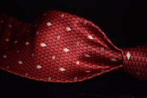 Brioni Made in Italy Liquid Gloss Satin Heavy Silk Red Cherry Heart Diamond Tie