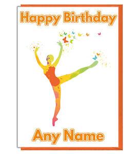 Personalised Colourful Ballet Dancer Birthday Card - Daughter Girls Mum Friend