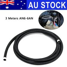 AU AN6 6AN 10 Feet 3 Meters Nylon Stainless Steel Braided Oil Fuel Gas Line Hose