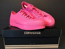 NIB Converse All Star Women's Low Rise Platform Bright Neon Pink Sz US 8.5