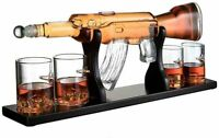 "Limited Hand Made Rifle Gun Whiskey Decanter 22.5"" 1000ml With 4 Bullet Glasses"