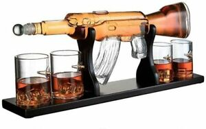 """Limited Hand Made Rifle Gun Whiskey Decanter 22.5"""" 1000ml With 4 Bullet Glasses"""