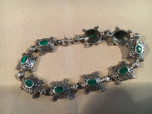 Stamped 925 Malachite Stone Turtle Link Bracelet 19g
