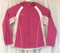 Vintage 90s Columbia Womens Windbreaker Jacket Pink Hood Zip White M Color Block