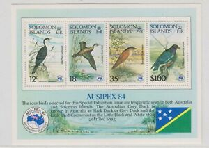 """SOLOMON ISLANDS, 1984, """"BIRDS - AUSIPEX"""" S/S, MINT NH. FRESH IN GOOD CONDITION"""