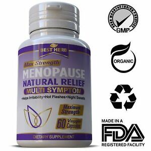 Menopause Relief Supplement Pills Estrogen Balance Hot Flashes Support 60 Caps