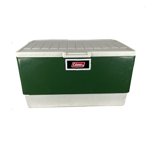 Vintage 70s Coleman Handled Ice Chest Box Cooler Green Camping Large Steel USA
