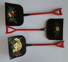 Set Lot 3 Vintage Christmas Shovels Red Bird Holly Pine Hand Painted Wall Decor