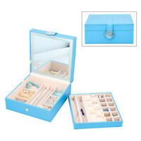 Turquoise Blue Faux Leather 2 Tier Jewelry Box Touch LED Light Makeup Mirror