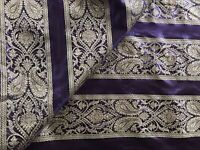 PURPLE/GOLD JACQUARD STRIPED BROCADE fabric clothing dress drapery costume 1 Yd