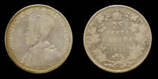Canada 1921 25 Cent King George V Silver Coin VG-8