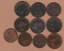 More details for ten old copper half pennies i719 to 1890 in a well used condition