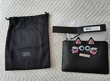 Karl Lagerfeld black mock leather clutch purse pouch bnwt dustbag cat