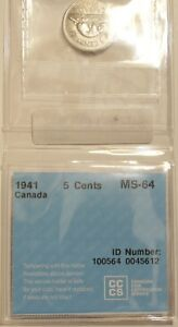 1941 Canada 5 Cent Nickel MS 64 CCCS Graded