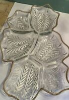 MCM Glass Serving Platter Large Clear Gold Trim 6 Divided Spots Candy Fruit
