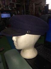 Vintage CABBIE FLAT CAP Newsboy Gatsby Golf Ivy Driving Dark Blue Size Large