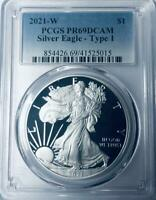 2021-W  Silver Eagle - Heraldic Eagle Type 1 - PCGS Proof-69 Deep Cameo