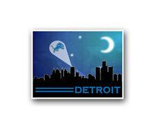 """Detroit Lions Poster City Skyline Art Print Man Cave Decor 12x16"""""""