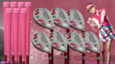 "Women's iDrive Golf Clubs All Ladies Pink Hybrid (5-SW) Set Lady ""L"" Flex Clubs"