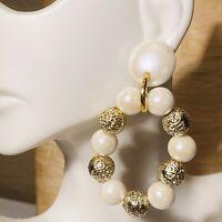VTG Runway Statement Pearl Earrings Dangle Beaded Gold Rare Large Oval Hoop Huge