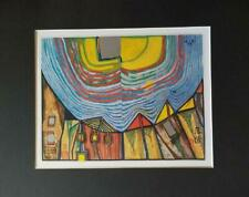 """Friedensreich Hundertwasser """"Sunset"""" Matted Offset Color Lithograph 1986"""