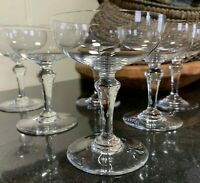 """6 Baccarat Crystal 4 3/4"""" Normandie Champagne Tall Sherbet Glasses - Excellent"""