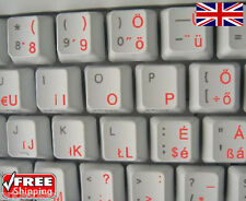 Hungarian Transparent Keyboard Stickers With Orange Letters Laptop PC Computer