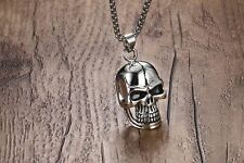 "24"" Mens Stainless Steel Gothic Skull Pendant Box Link Chain Necklace + Box #N69"