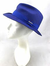 STETSON Abraham Too Blue Paper Straw Woven Summer Travel Hat S Italy Women's