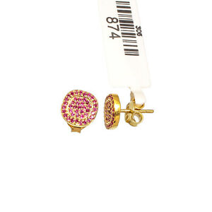 """NANO RUBY GEMSTONE GOLD PLATED STUDS 925 STERLING SILVER JEWELRY EARRING 0.39"""""""