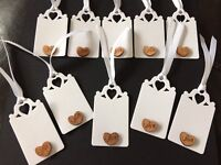 10 White Vintage Tags with wooden Love Hearts Wedding Labels, Tags For Gifts