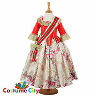 Childs Girls Deluxe Floral Countess 18th Century Fancy Dress Party Costume
