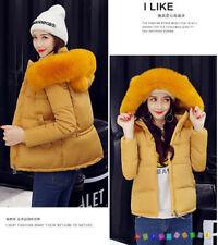 Short Winter Women Down Cotton Warm Jacket Slim Fur Collar Hooded Coat Parka