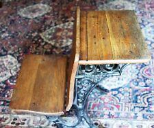 Antique Cast Iron & Wood Children's Folding School Desk Early 1900s