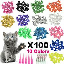 100 Pack Cat Nail Caps/Tips Pet Kitty Soft Claws Covers Control Instruction M