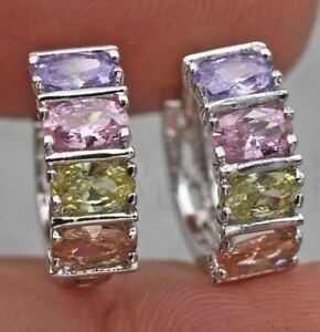 18k Gold Filled Amethyst - Morganite - Peridot - Topaz Hoop Earrings [EAR-156]