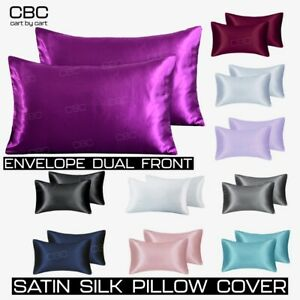 2 Pcs Satin Silk Pillow Cases Cushion Cover Bedding Home Decor' Smooth Soft NEW