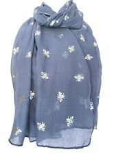 Bee Scarf Ladies Blue Silver Bumble Bees Print Wrap Cotton Blend Shawl Defects