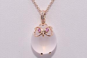 Adorable Owl Necklace with White Quartz, Pink Sapphire & Diamond - 18K Rose Gold