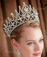 Bridal Pageant Beauty Contest Crown Tall Full Circle Sparkling Tiara Prom T1581