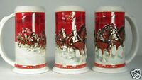 2004 Budweiser Holiday stein CS608 Christmas beer mug from annual series  Busch