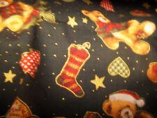 100% teddybears and stocking christmas  fabric PRICE PER 1/2 yard 132cm wide
